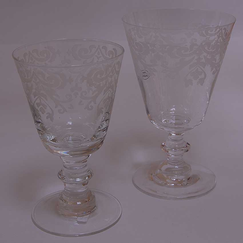 french engraved water and wine glasses palazzo